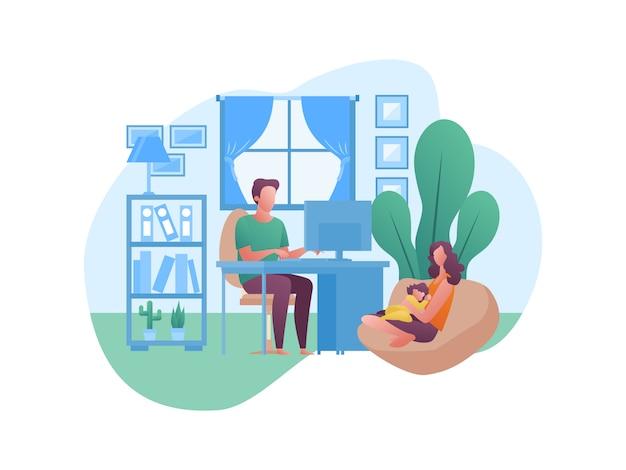 Иллюстрация понятия о работе из дома с семьей Premium векторы