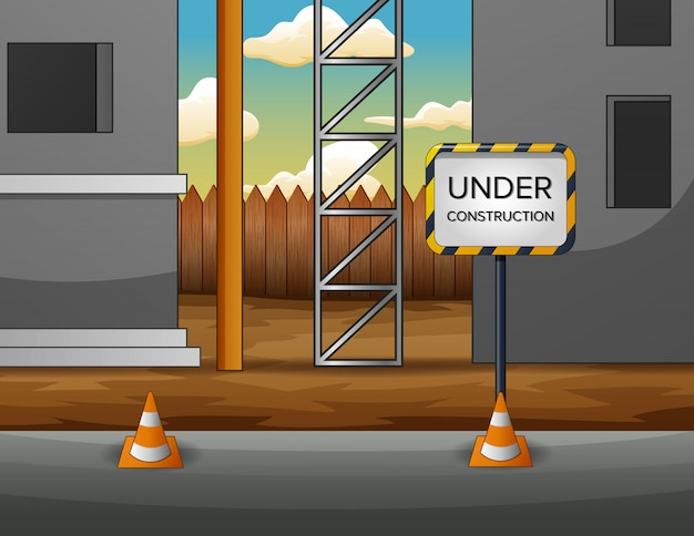 Illustration of under construction site with building Premium Vector