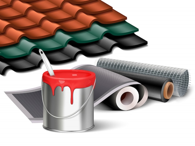 Illustration of construction works elements, bucket of red paint, wallpaper rolls and tiled roof sample pieces in different colors. Premium Vector