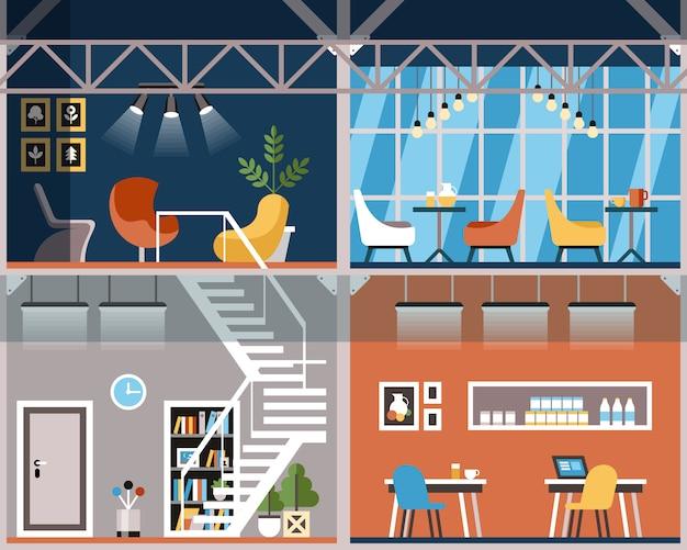 Illustration convenience coworking cartoon. Premium Vector