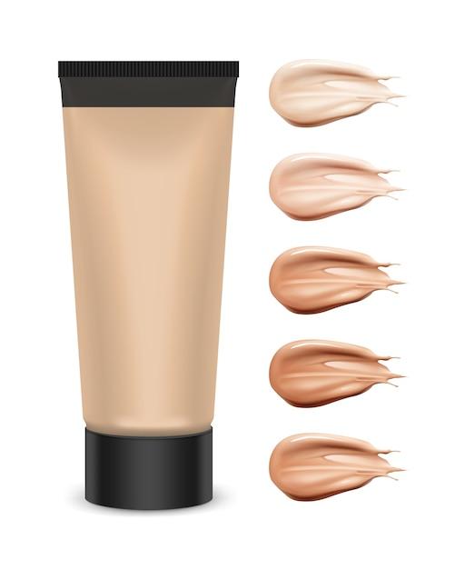 Illustration of cosmetic plastic tube with tone cream Premium Vector