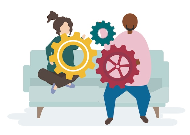 Illustration of a couple characters with cogwheels Free Vector