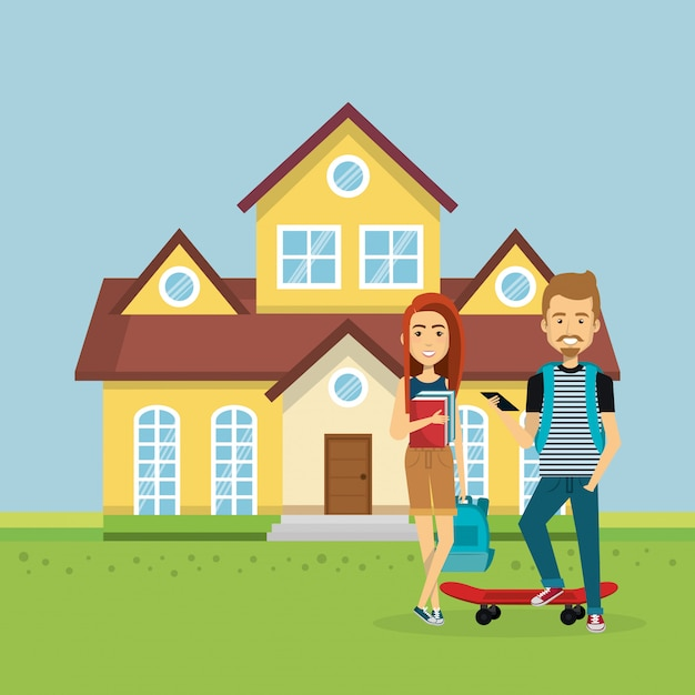 Illustration of couple of lovers away from home Free Vector