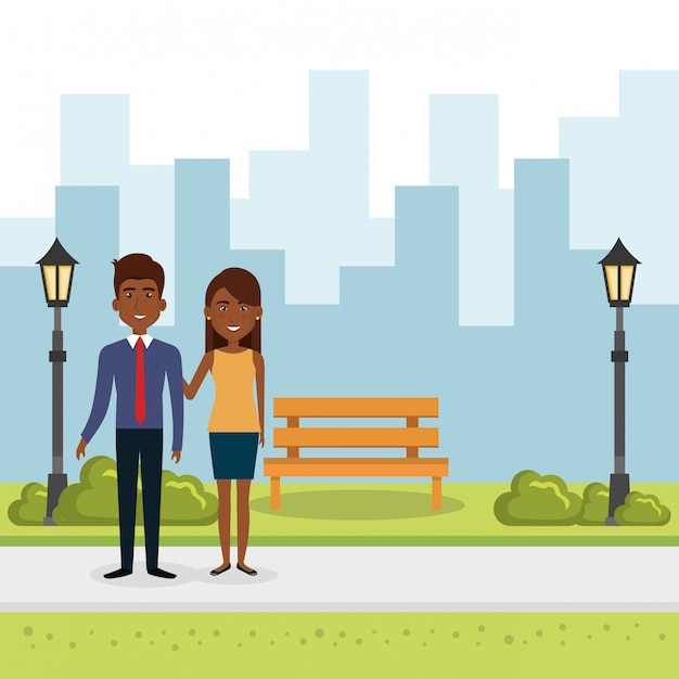 Illustration of couple of lovers in the park Free Vector