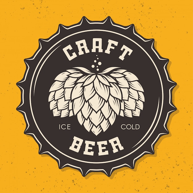 Illustration of craft beer bottle cap with hops Premium Vector
