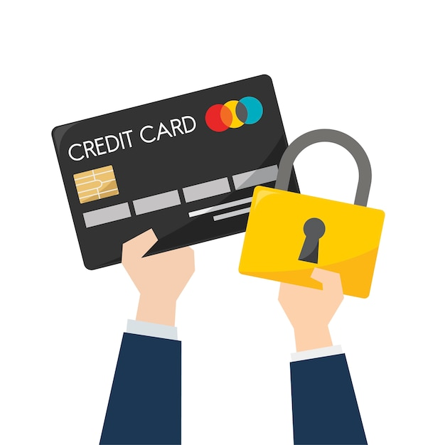 Illustration of credit card security Free Vector