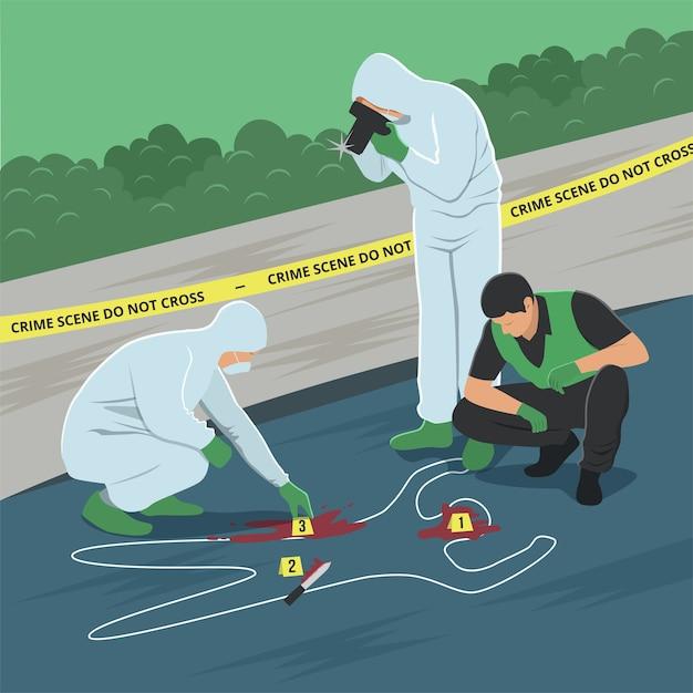 Illustration of crime scene investigation Premium Vector