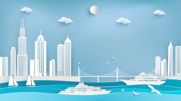 Illustration of cruise ships and cities. paper art Premium Vector