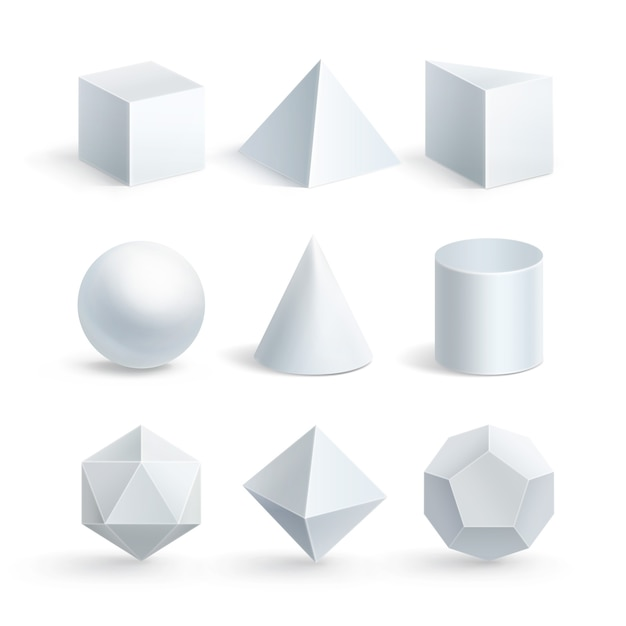 Illustration of cube prism cylinder cone sphere pyramid or tetrahedron Premium Vector