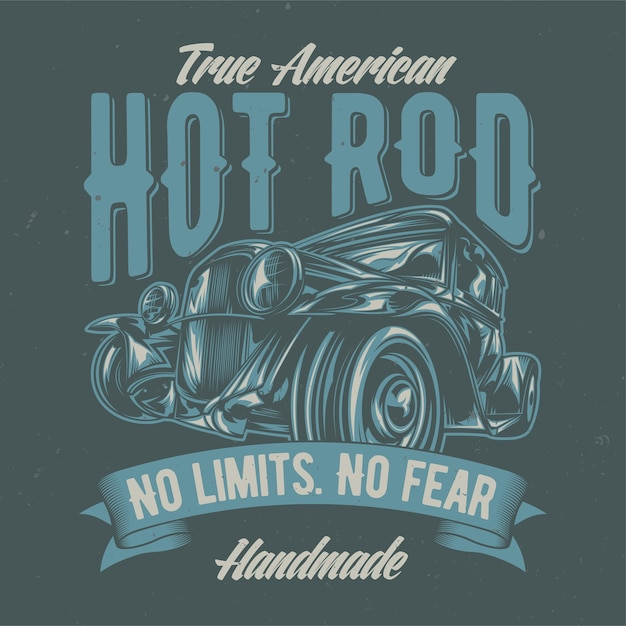 Illustration of custom hot rod. hand drawn illustration. Free Vector