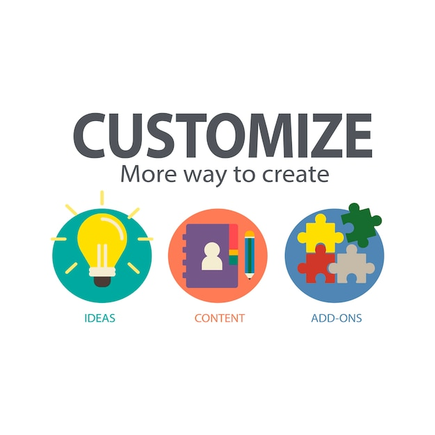 Illustration of customize service Free Vector