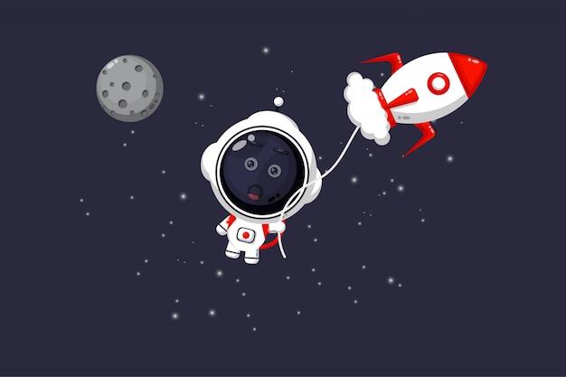 Illustration of cute astronaut flown by jet Premium Vector