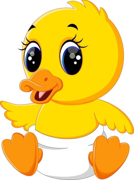 Illustration of cute baby duck cartoon Premium Vector