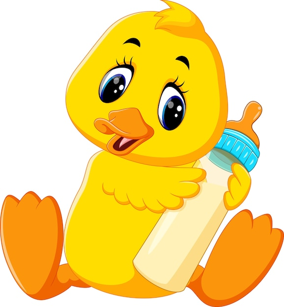 Illustration of cute baby duck holding milk bottle Premium Vector