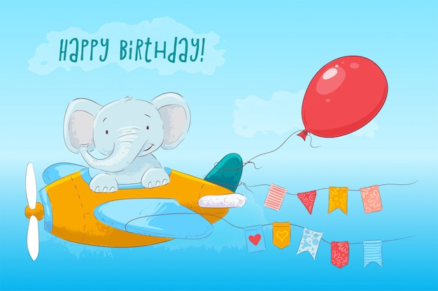 Illustration of cute baby elephant flying on an airplane. cartoon style. vector Premium Vector