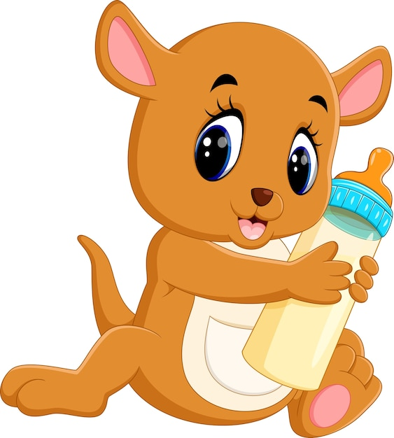 Illustration of cute baby kangaroo holding milk bottle Premium Vector