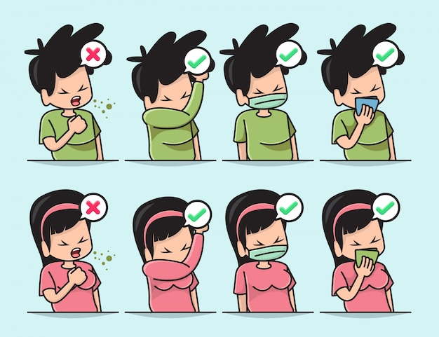 Illustration of cute boy and girl with the proper way to cover a mouth when cough or sneezing Premium Vector