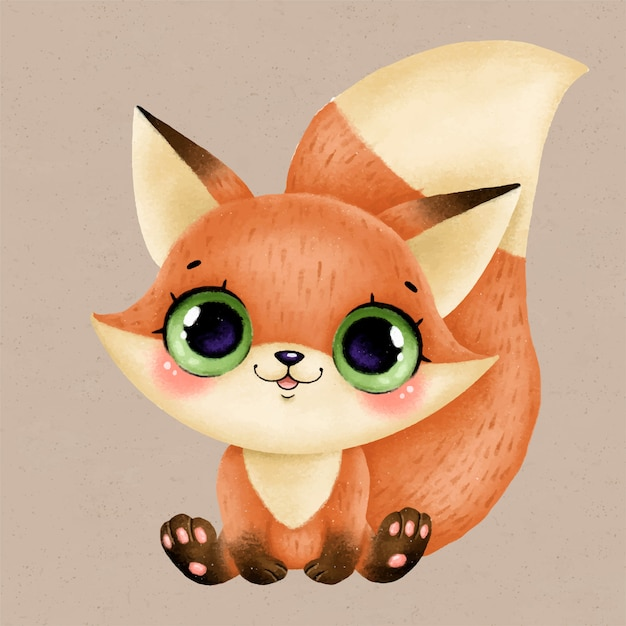 Illustration Of A Cute Cartoon Baby Fox With Big Eyes Premium Vector