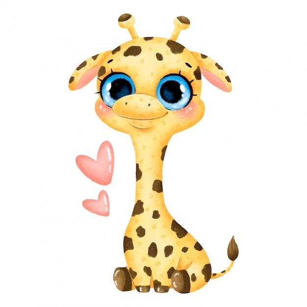 Illustration of a cute cartoon baby giraffe with big eyes ...