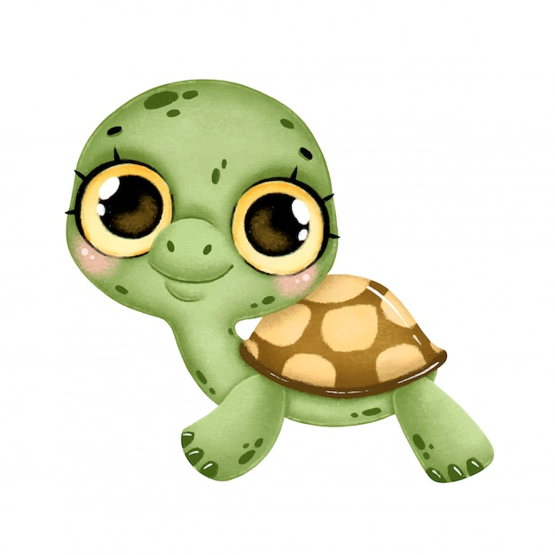 Illustration Of A Cute Cartoon Baby Turtle With Big Eyes Isolated