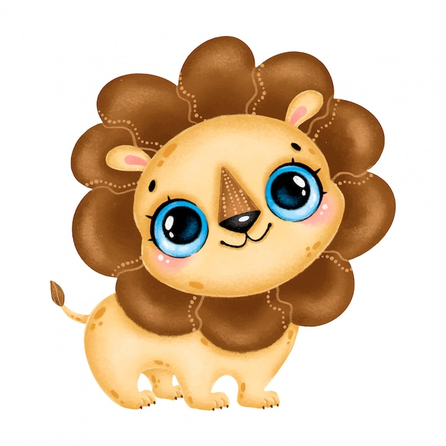 Illustration Of A Cute Cartoon Lion With Big Eyes Isolated