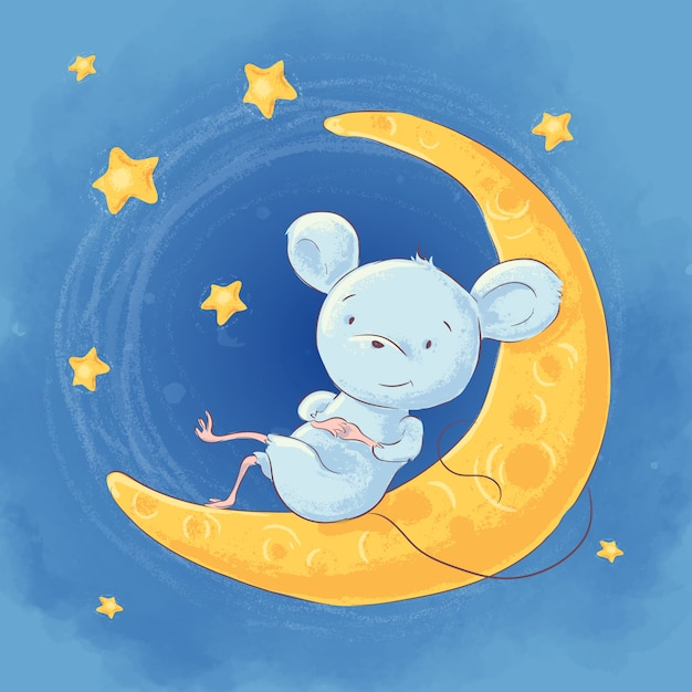 Illustration of a cute cartoon mouse on the moon night sky and stars Premium Vector