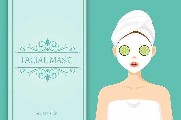 Illustration cute character facial mask cucumber Premium Vector