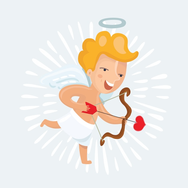 Illustration of cute cupid with arrows and onion Premium Vector