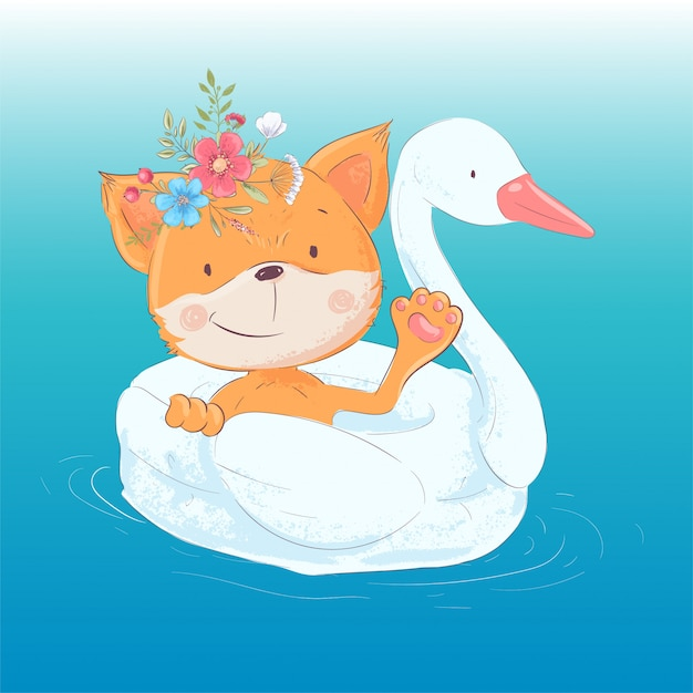 Illustration of a cute fox on an inflatable circle in the form of a swan Premium Vector