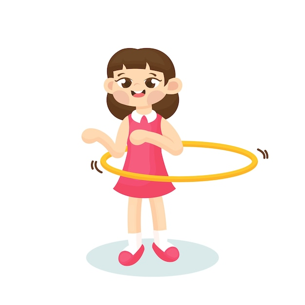 Illustration of cute girl playing hula hoop with happy face Premium Vector