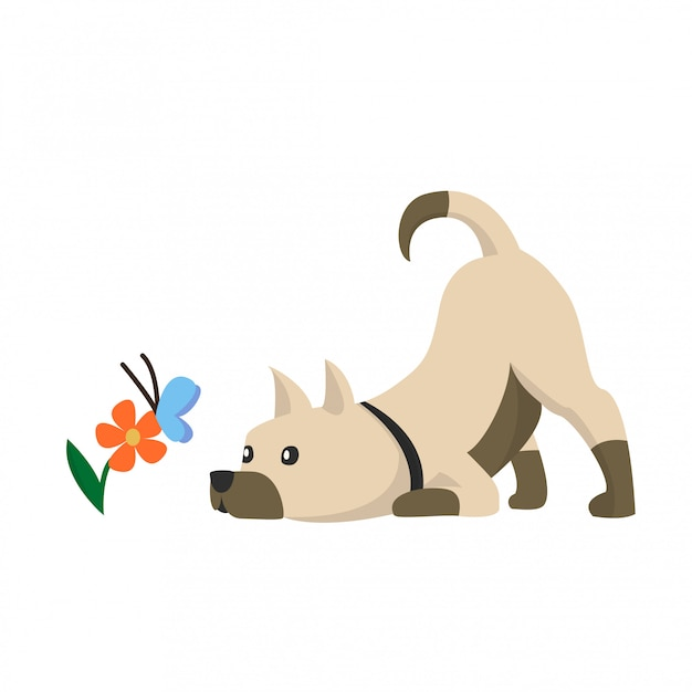 Illustration of a cute little dog with flowers and butterflies. Premium Vector