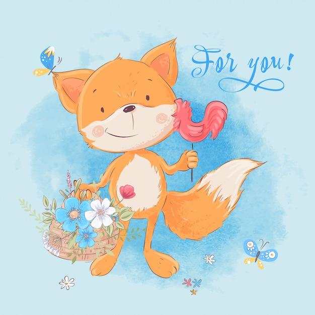 Illustration of cute little fox and flowers. cartoon style. vector Premium Vector