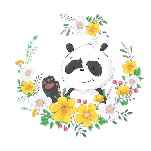 Illustration of cute little panda in a wreath of flowers. hand drawing. Premium Vector