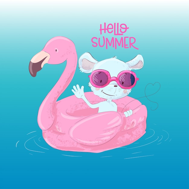 Illustration of a cute maus on an inflatable circle in the form of a flamingos. hello summer Premium Vector