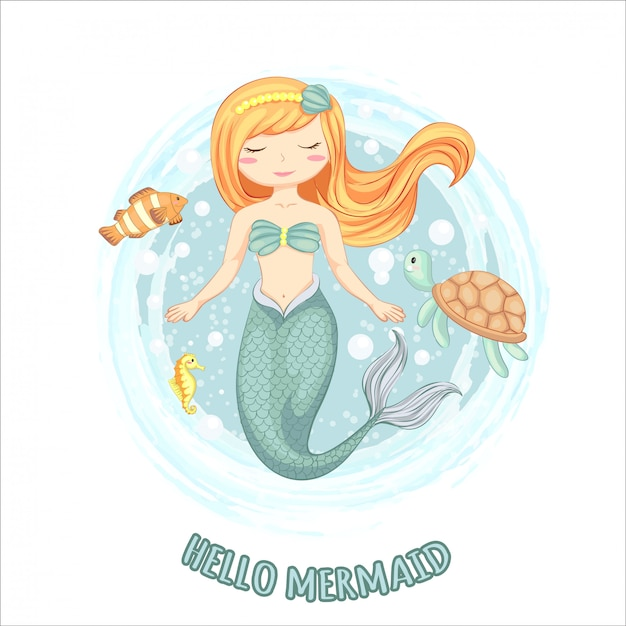 Illustration of cute mermaid with turtle, sea horse and small fish hand drawn. Premium Vector