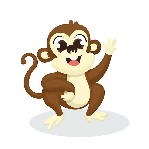Illustration of cute monkey character with cartoon style Premium Vector