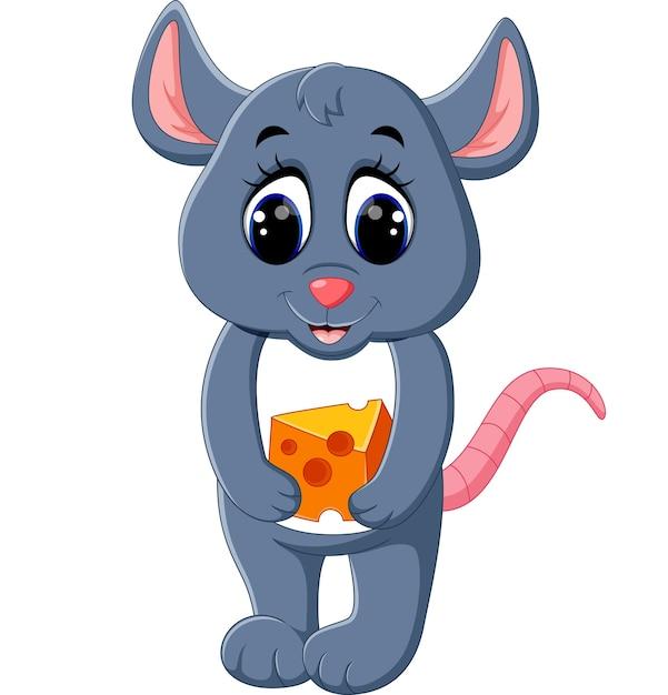 Illustration of cute mouse cartoon | Premium Vector