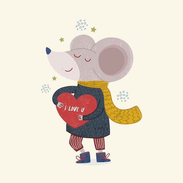 Illustration of a cute mouse illustration for childrens book Premium Vector