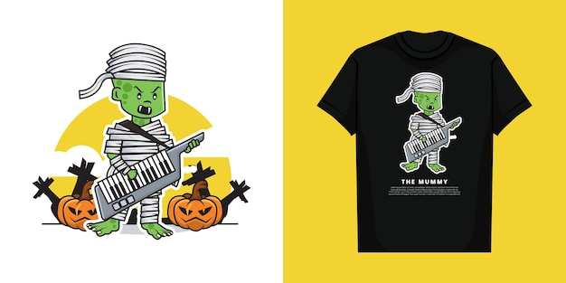 Illustration of cute mummy boy character playing guitar keyboard piano with t-shirt  design Premium Vector