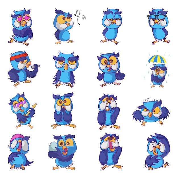 Illustration of cute owl set Premium Vector