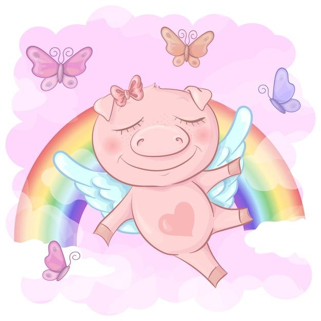 Illustration of a cute pig cartoon on a rainbow Premium Vector