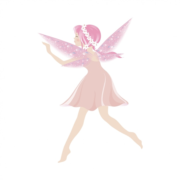 Illustration of a cute pink fairy flying with beautiful wings Premium Vector
