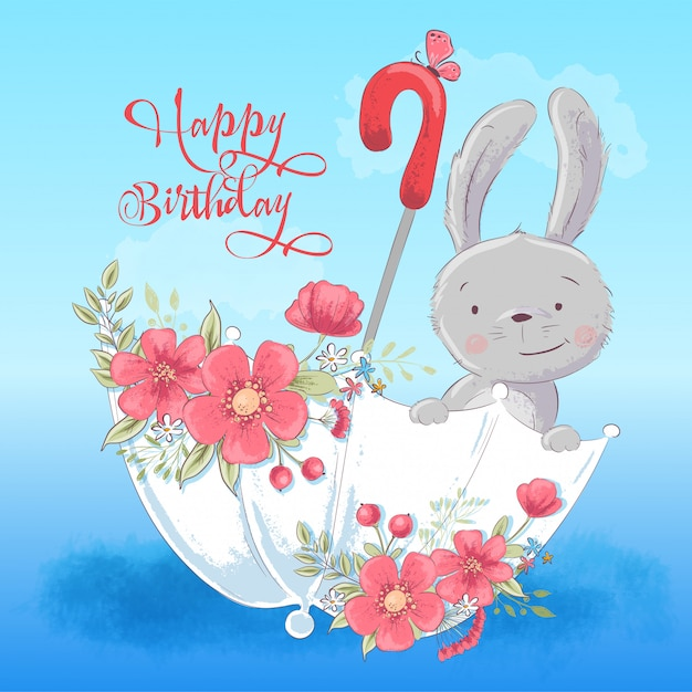 Illustration of cute rabbit in an umbrella with flowers Premium Vector