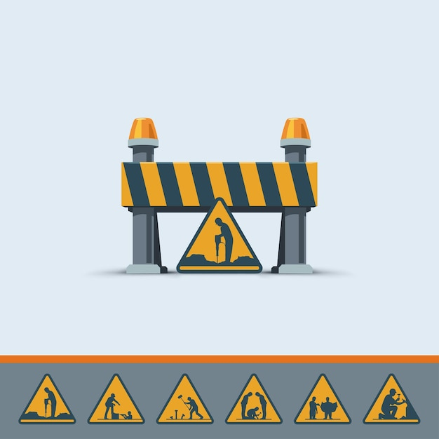 Illustration of cute road under construction sign template with various signs on white background Premium Vector