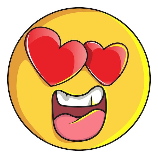 Illustration of cute smiley emoji is in love . Premium Vector