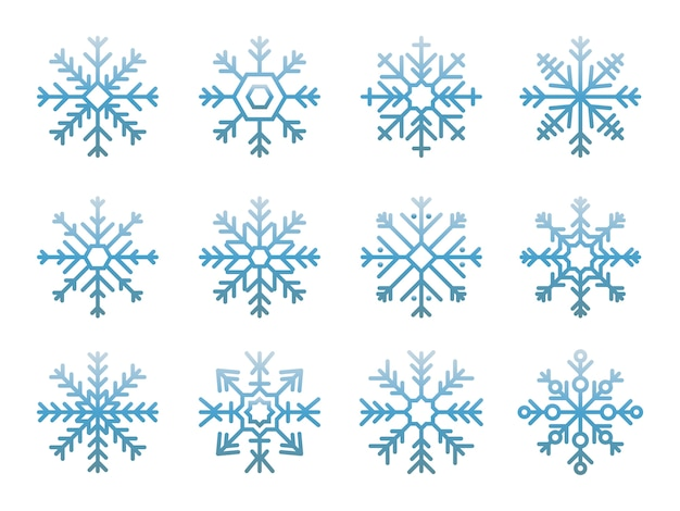Illustration of cute snowflake icons Free Vector