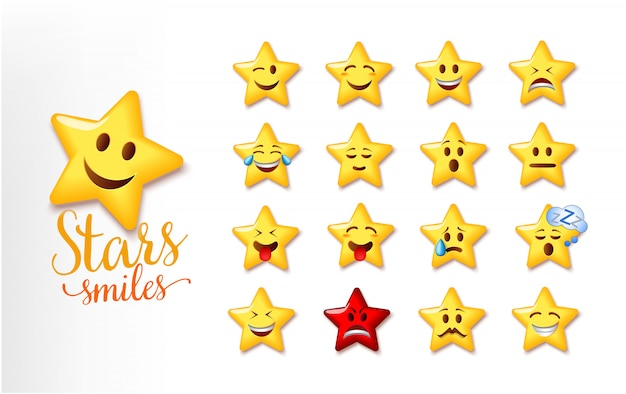 Illustration of a cute stars smiles. set of star facial expression emoji Premium Vector