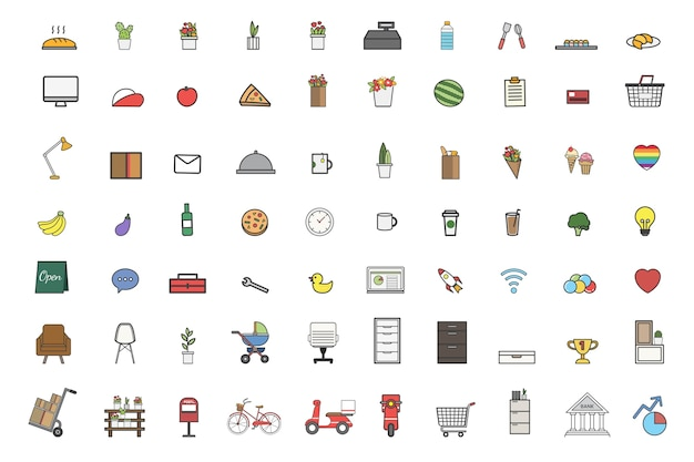 Illustration of daily stuff vector set Free Vector