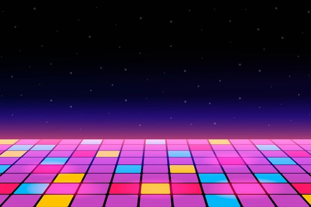 Illustration of a dance floor amongst starry open space. Premium Vector