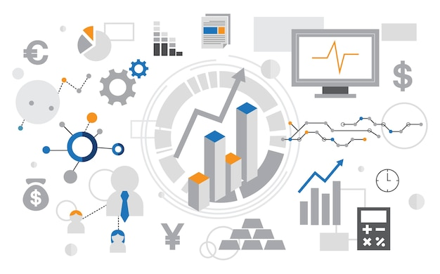 Illustration of data analysis graph Free Vector
